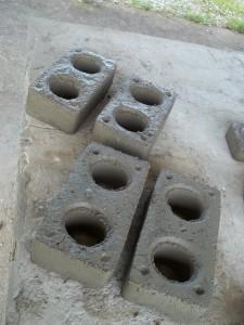 Produção de tijolos para construção civil